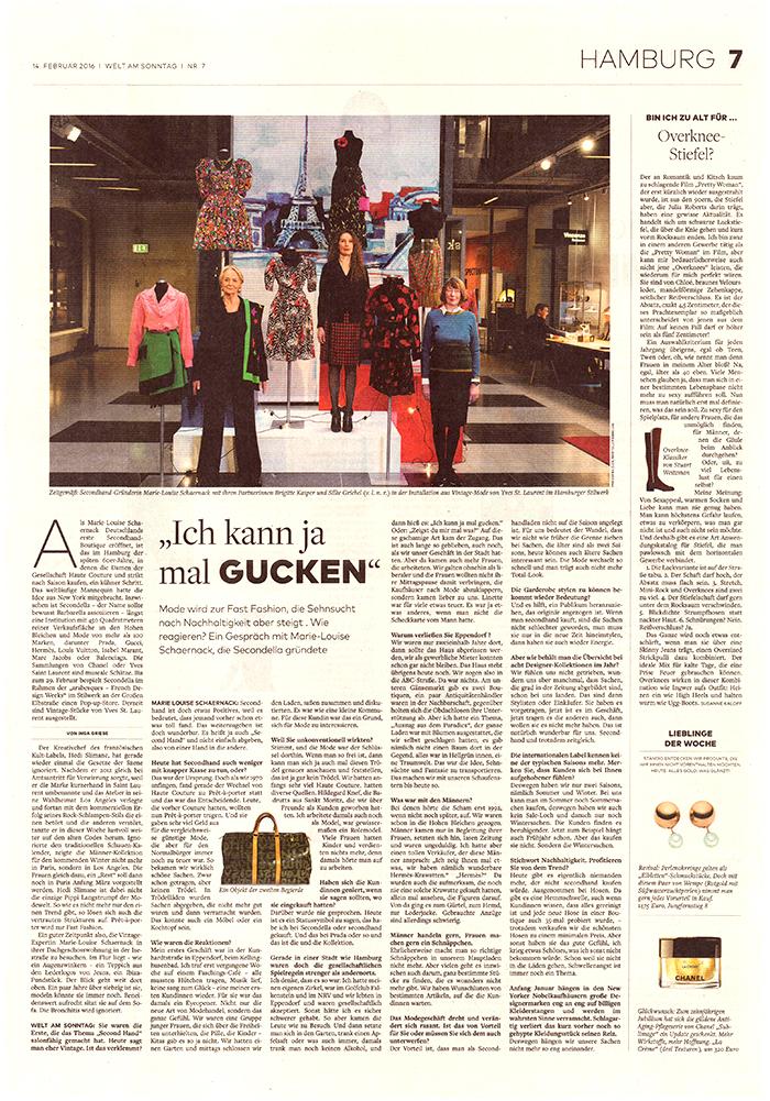 WELT am Sonntag - Interview Marie Louise Schaernack